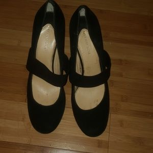 Gianni Bini Black Suede Pumps with strap
